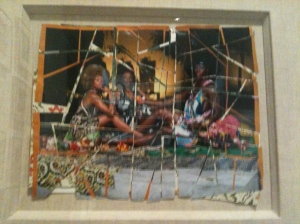 Picture of three friends conversing by Mickalene Thomas. Photo ©2012 Deborah J. Wunder